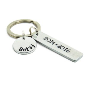 Custom name and date keychain