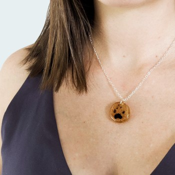 Cremation necklace with your pet's actual paw print