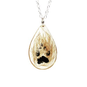 Memorial necklace with your pet's actual paw print and hair