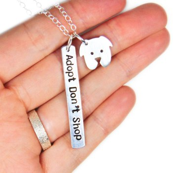 Adopt Don't Shop necklace with dog charm