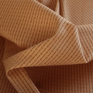 Red Dotted Stripes on Tan Fabric.