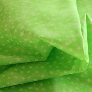White Stars on Lime Fabric Material