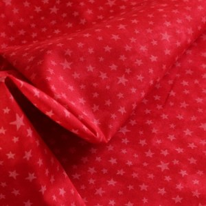White Stars on Red Fabric Material