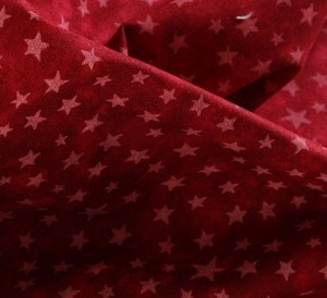 White Stars on Turkey Red Fabric Material