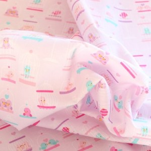 Pink Bird Cage Fabric Material
