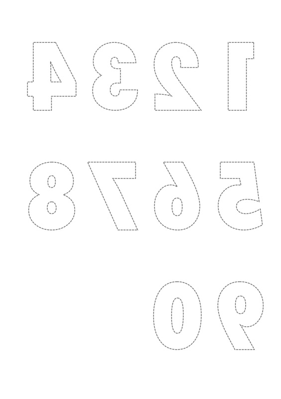Printable Reversed Number and Letter Templates for Craft