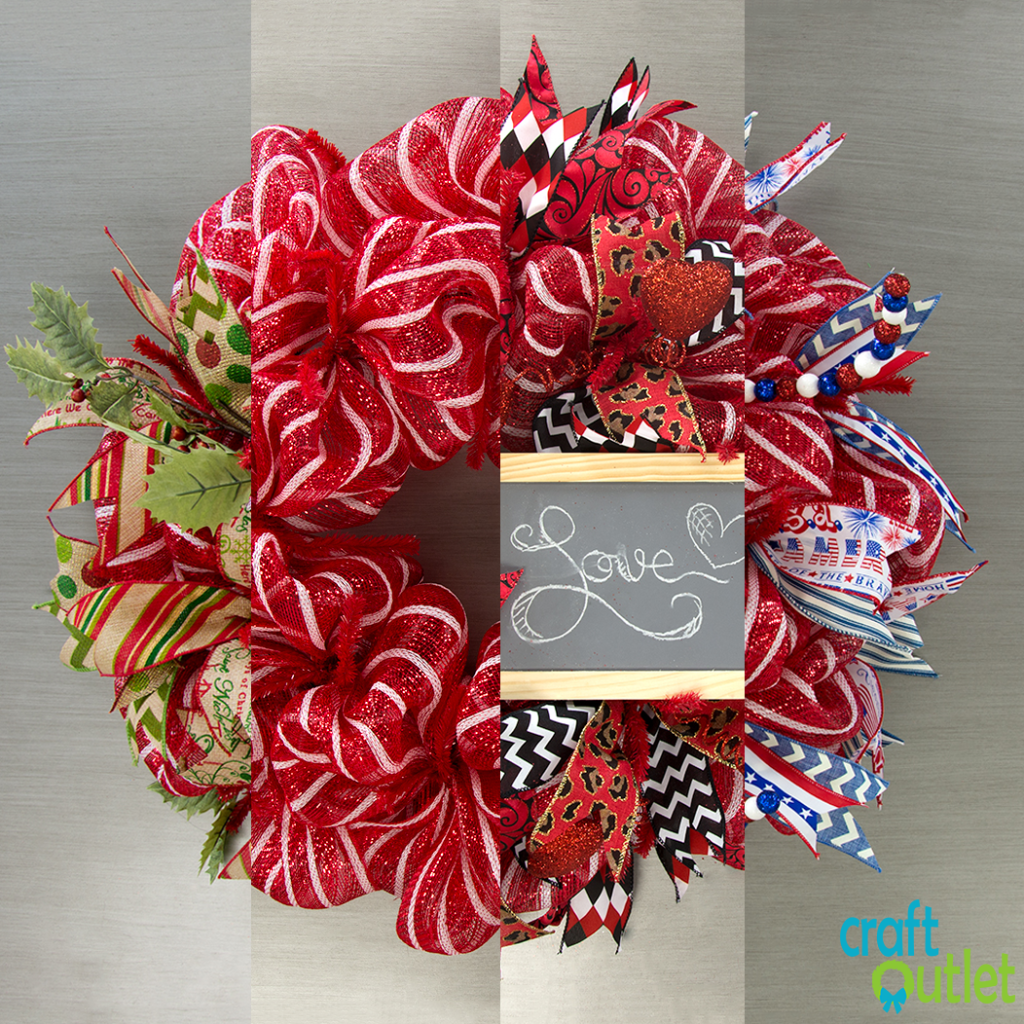 Deco Mesh Wreath Three Ways Craft Outlet Inspiration