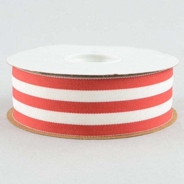 "1.5"" Red & White Striped Grosgrain Ribbon 25 Yards"