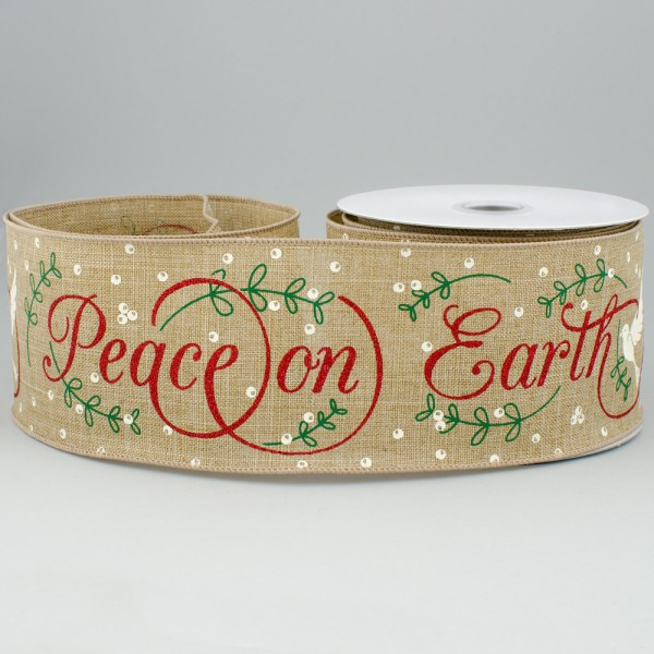 "2.5"" Royal Canvas Peace Earth Ribbon Natural 10 Yards"