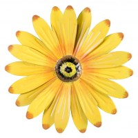 "10"" Metal Flower Wall Decor: Yellow [OSW101962 ..."