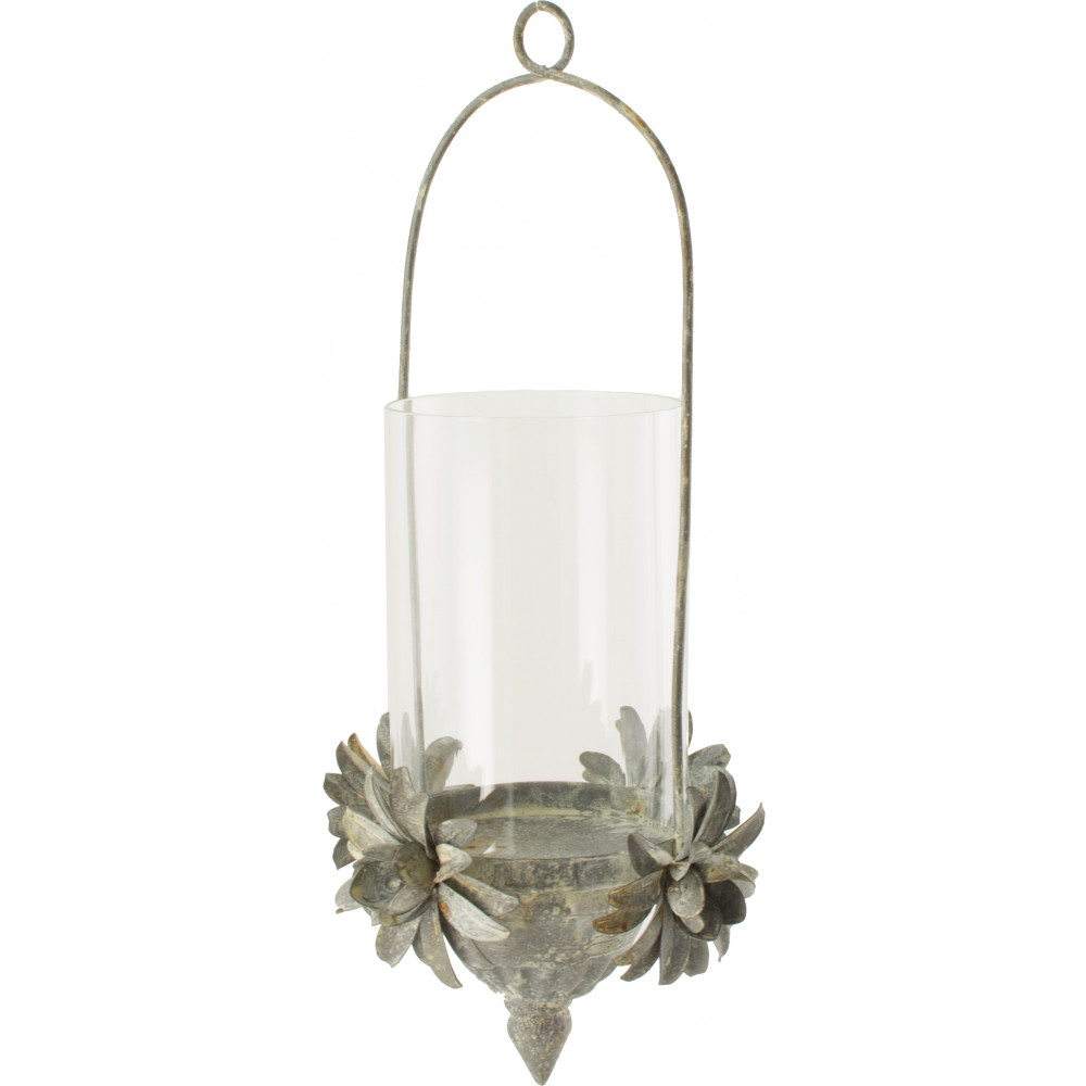"""12"""" Hanging Tin Flower Candle Holder [KQ982338"""