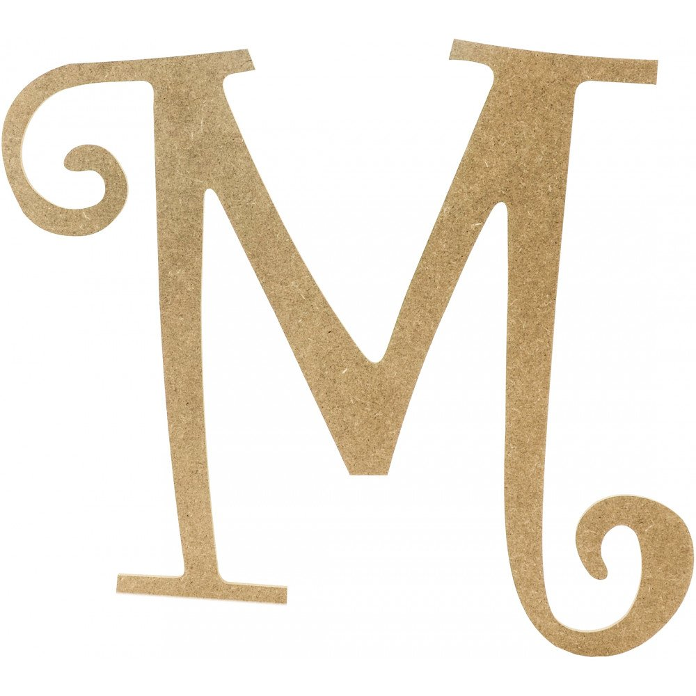 "14"" Decorative Wooden Curly Letter: M [AB2157"