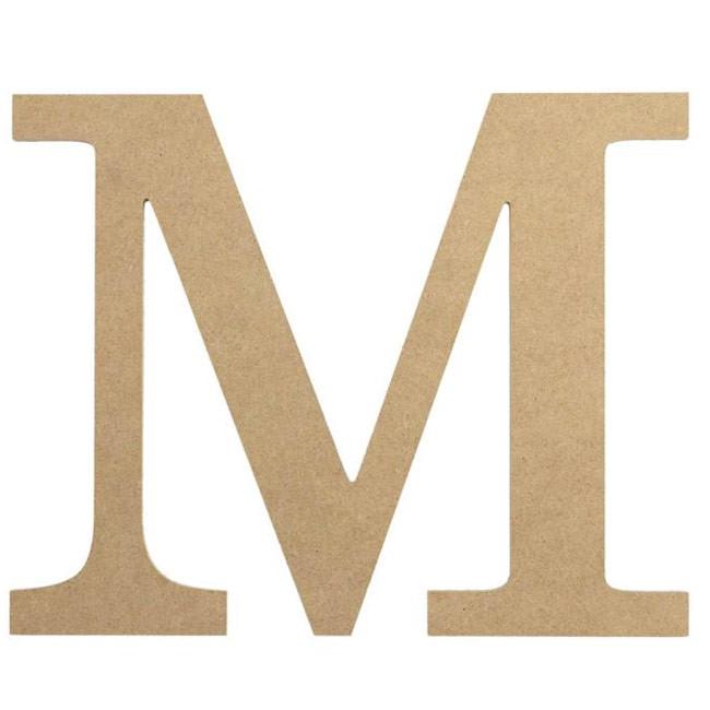 """10"""" Decorative Wood Letter: M [AB2037]"""