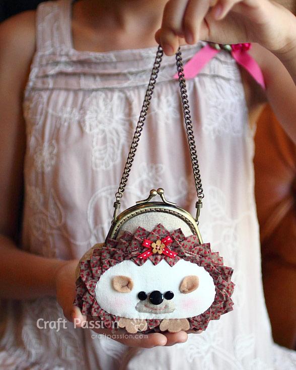 hedgehog gamaguchi purse with handles