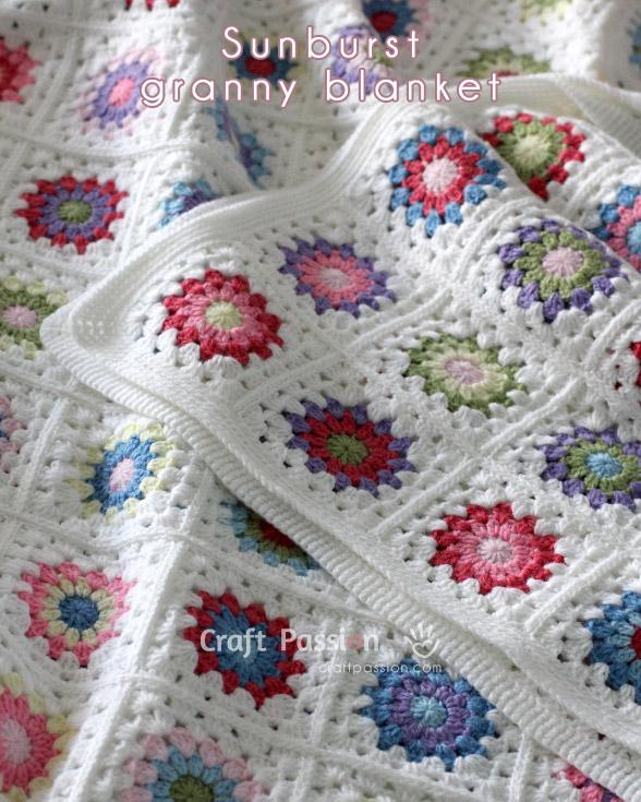 FREE Crochet Throw Blanket Patterns featured by top US crochet blog, Flamingo Toes: sunburst granny blanket
