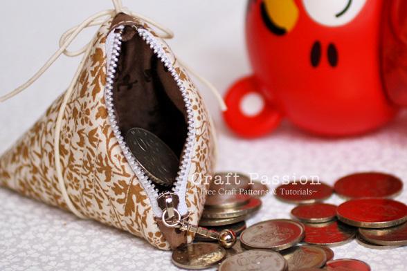 triangle zipper coin purse