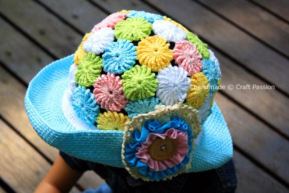 crochet yoyo puff summer hat