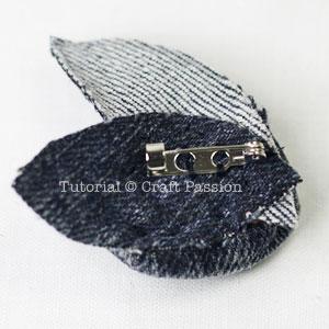 back of denim rosette brooch