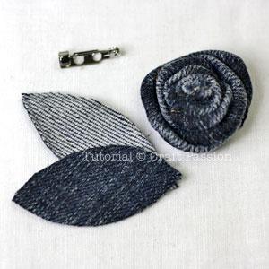 denim rosette brooch
