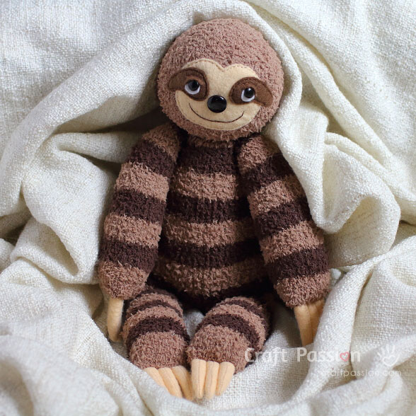 Sock Sloth Plushie  Free Sewing Pattern  Craft Passion