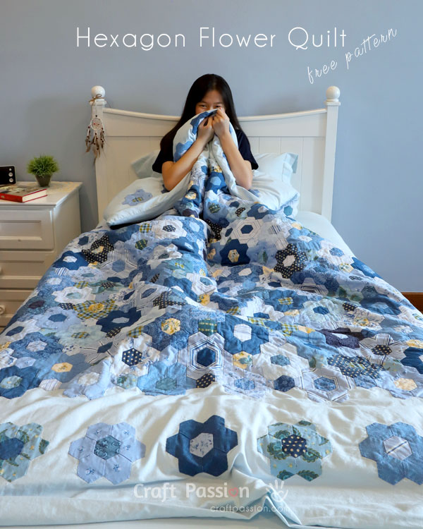 Modern Hexagon Flower Quilt Duvet Cover