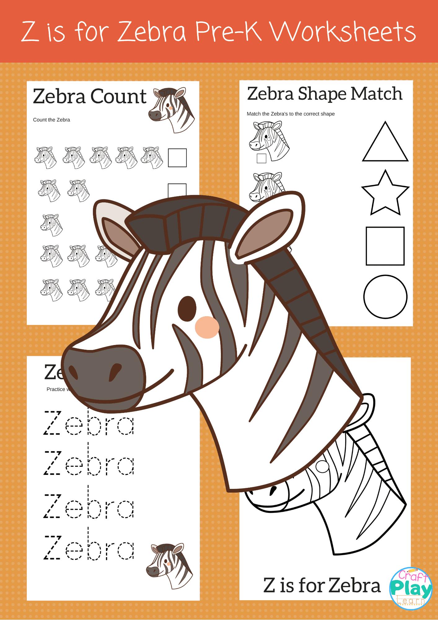 Letter Z Worksheets For Preschool Kids