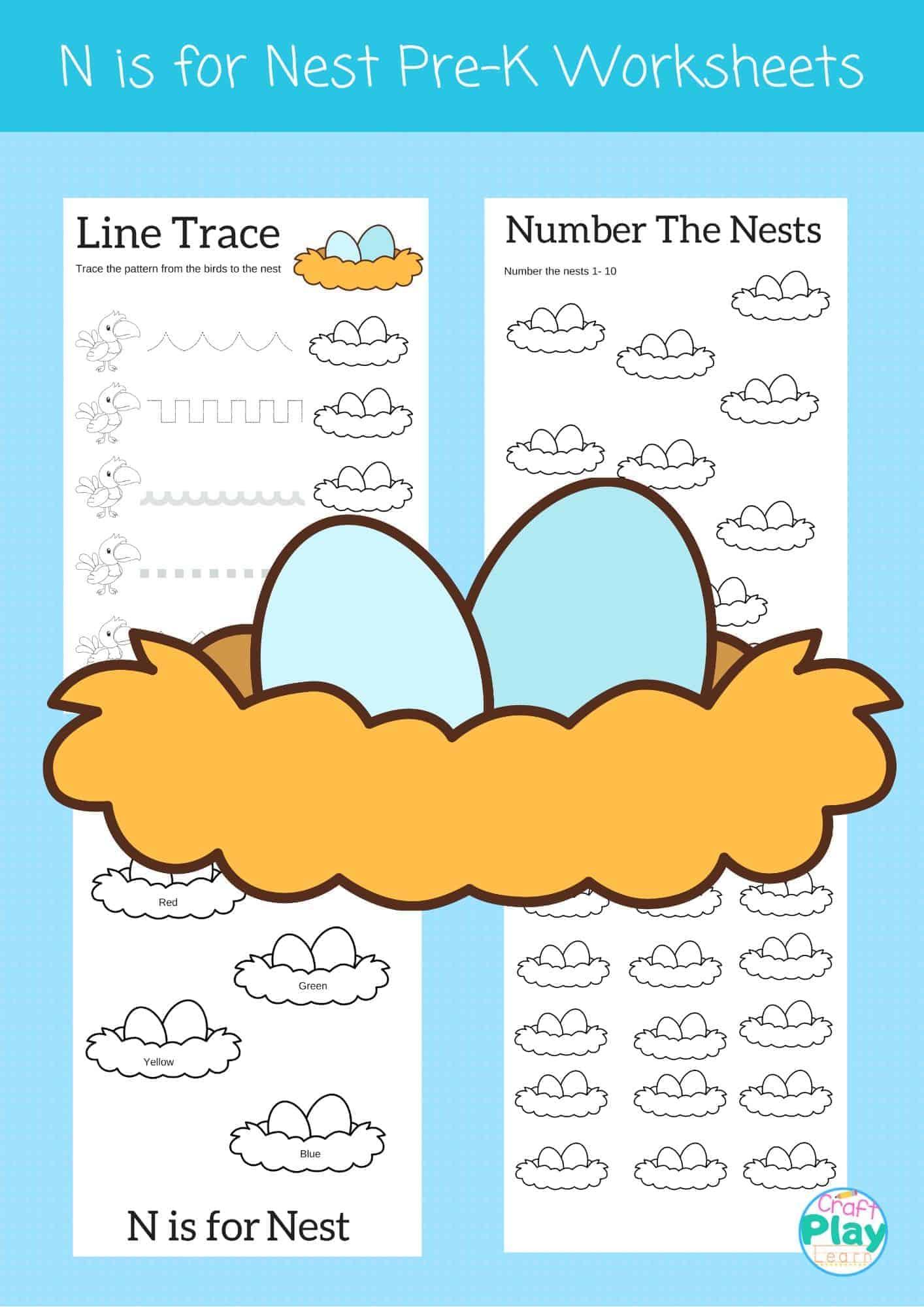 Letter N Worksheets For Preschool Kids