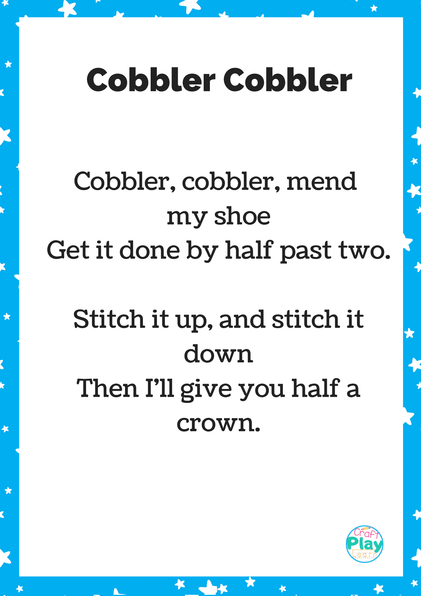 Cobbler Cobbler Nursery Rhyme Printable Activity Ideas