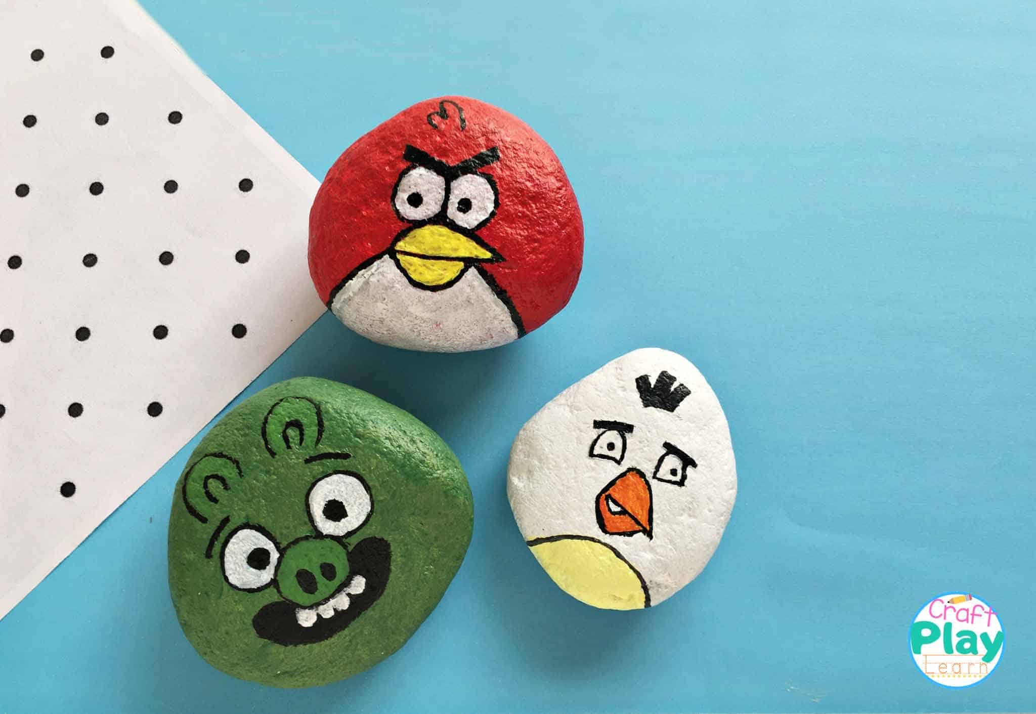 Angry Birds Painted Rocks Craft Activity