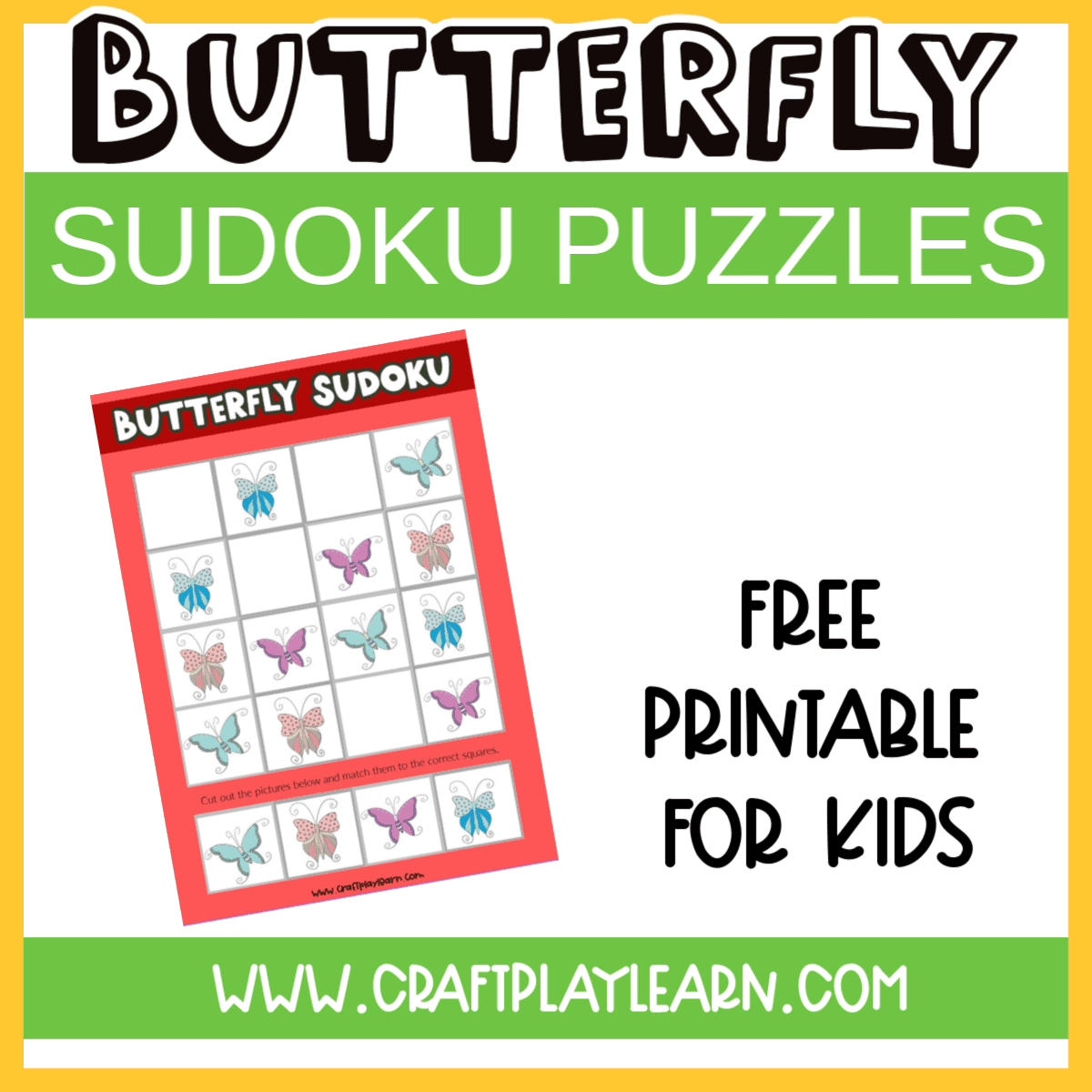 Butterfly Sudoku Printable For Kids