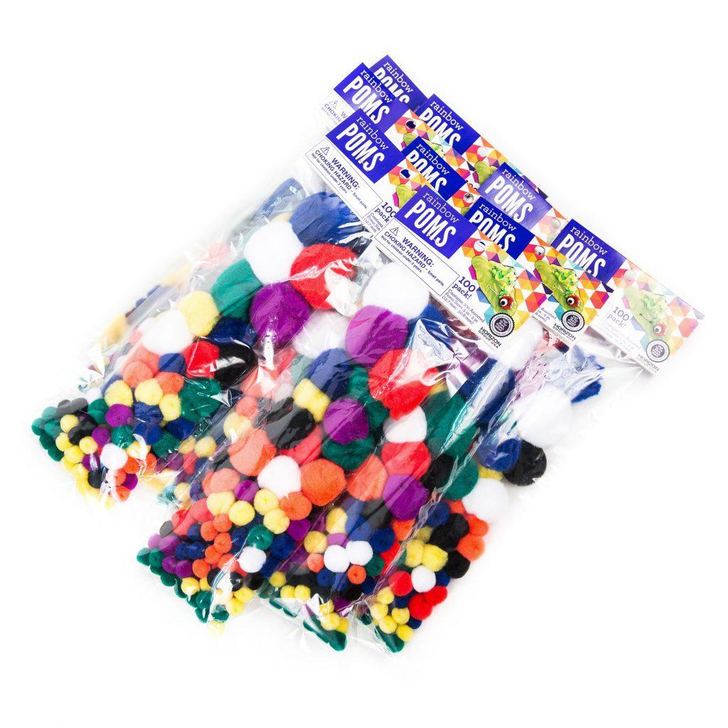 Rainbow Poms Assorted Sizes 100 Pieces