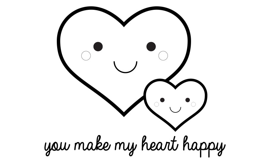You Make My Heart Happy Valentine S Day Printable Coloring Page Craft Project Ideas