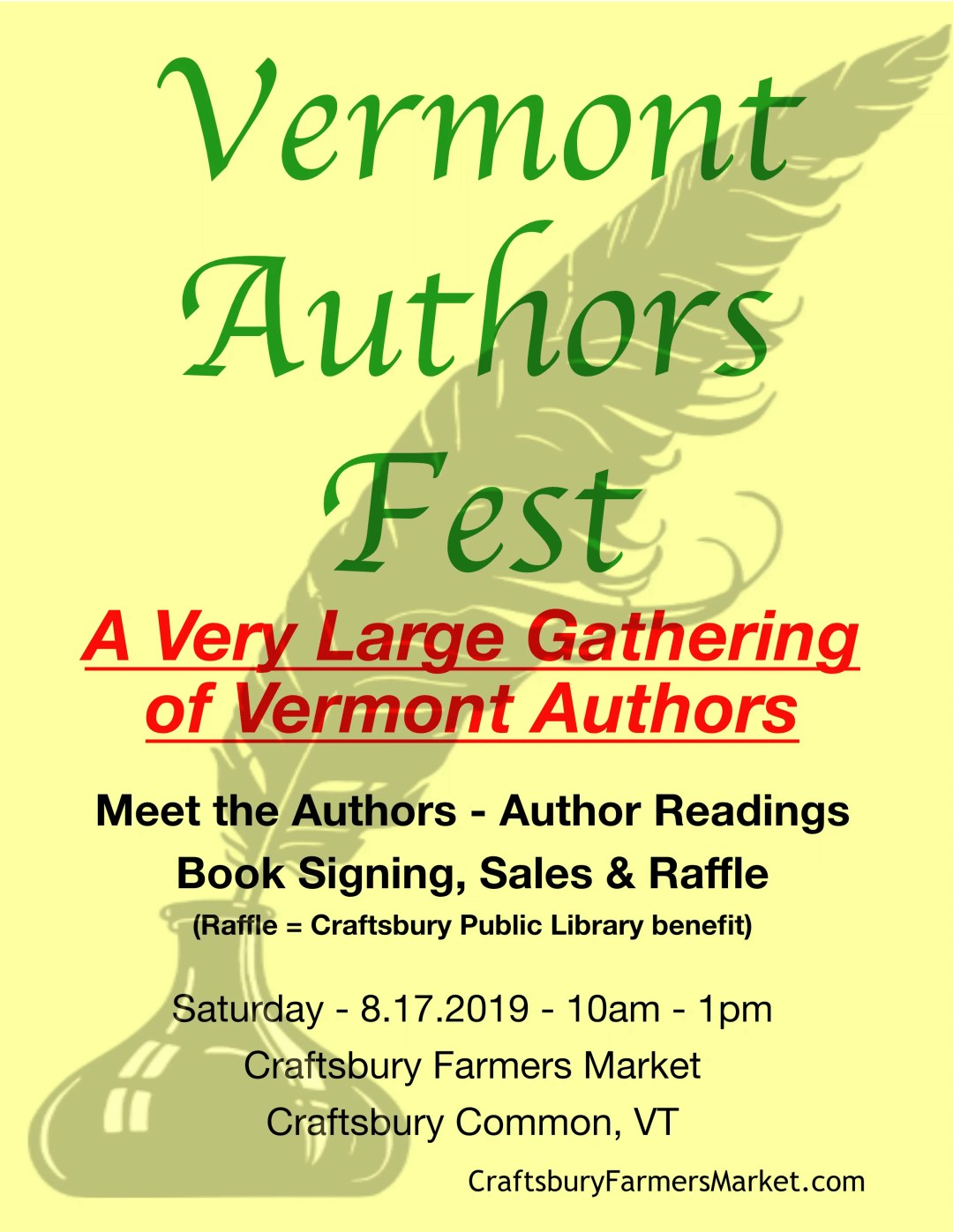 Authors Fest - Craftsbury Farmers Market - Craftsbury Common VT