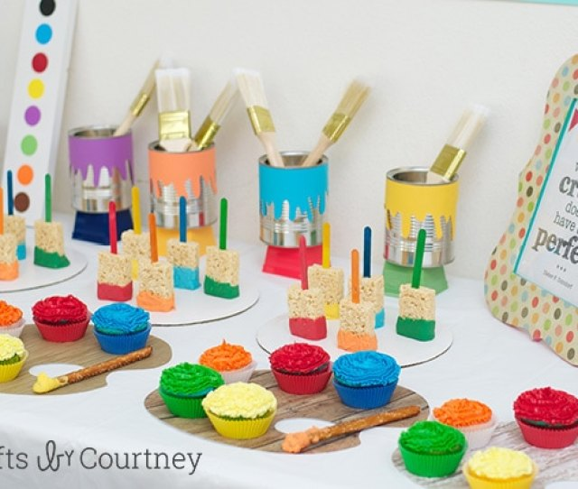 Easy Diy Kids Art Themed Birthday Party Craft Party Display Table