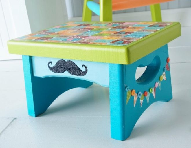 Summer Spotlight - Amy from Mod Podge Rocks! - Circus themed stool a mustache craft