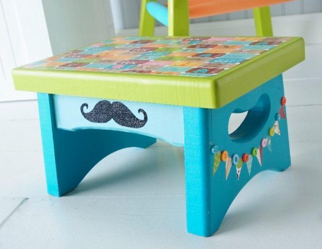 Summer Spotlight - Amy from Mod Podge Rocks! - Circus themed stool a mustache craft