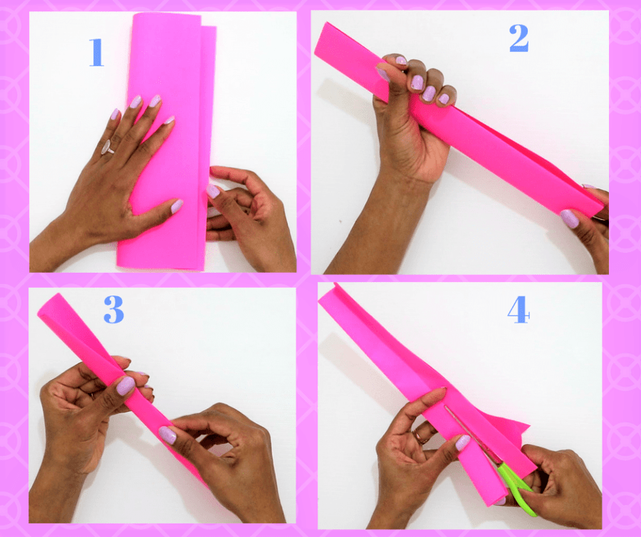 Easy Paper Bow steps- fold the paper and cut paper strips