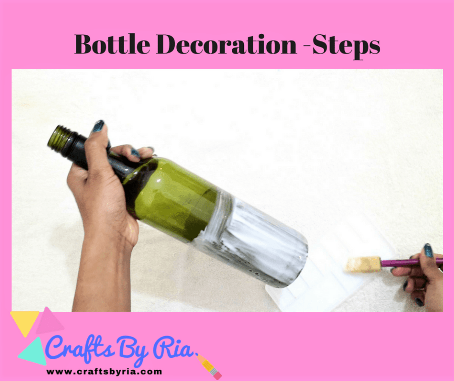 diy wine bottle decor-apply pva glue