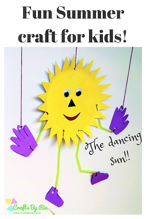 fun summer craft for kids-paper plate sun marionette