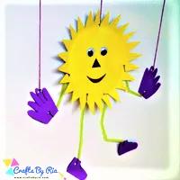 paper plate sun marionette