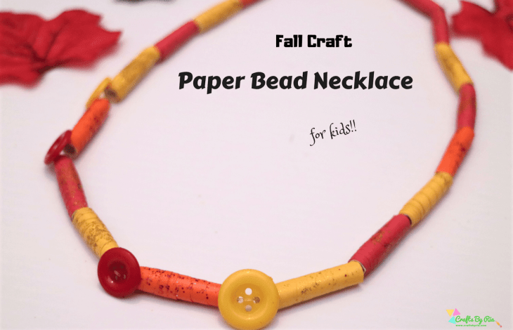 paper bead necklace-autumn crafts for kids-featured image