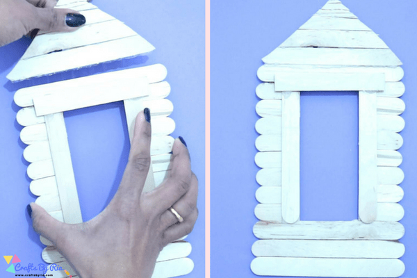 popsicle stick house tutorial-build triangle shape for the front entrance