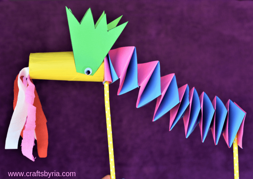 paper dragon puppet craft