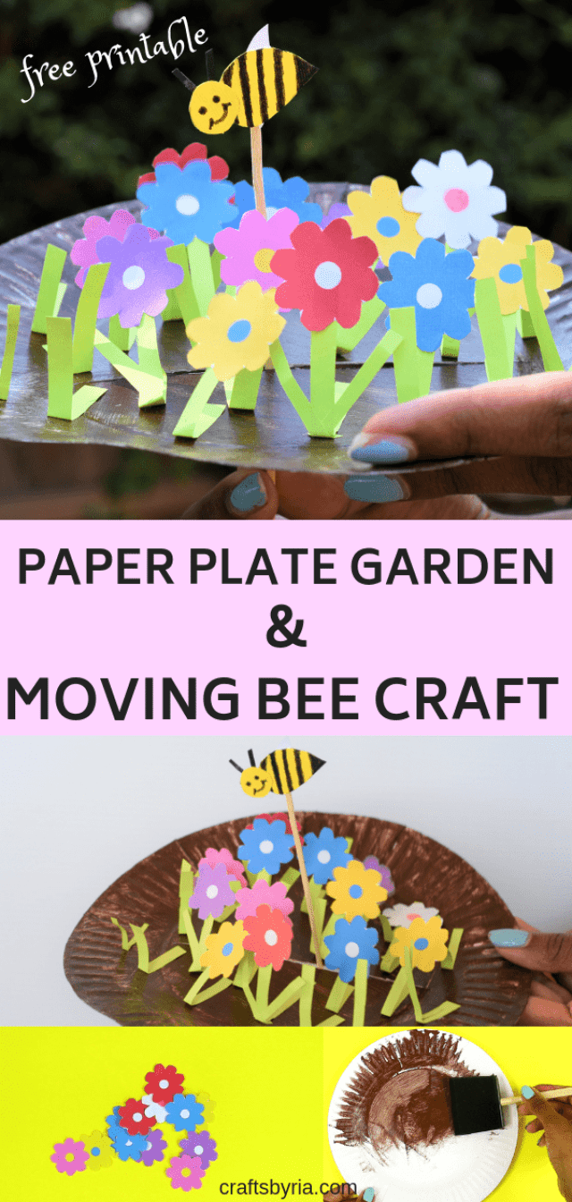 Fun spring craft for kids- Paper plate garden and moving bee-pin2
