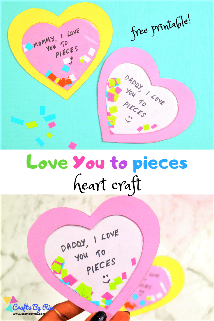 image relating to I Love You to Pieces Printable named I delight in yourself in the direction of elements craft with no cost printable - Crafts Via Ria