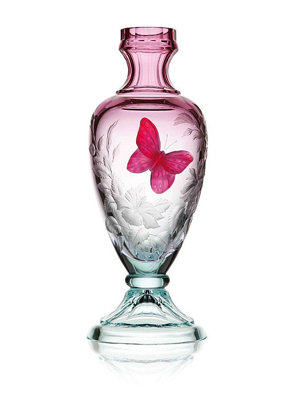 ボヘミアガラス モーゼル 花瓶 スプリング・メドウ Maddy 3217, hand cut and engraved vase with a fusion