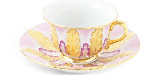 マイセン カップ&ソーサー リミテッドエディション ピンク&ゴールド ( Meissen Cup and Saucer, Staffage Purple and Gold, Limited Masterpieces )