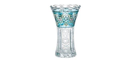 ボヘミアガラス ラスカ ブルーラスターローズ 花瓶 ( Bohemian Glass Laska Blue Luster Rose Vase )