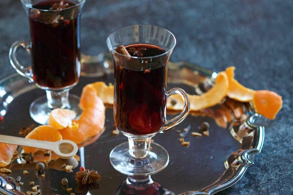 glasses full of mulled wine