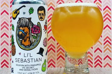 lil sebastian india pale ale poured in a tall bubble like glass